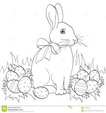 easter bunny on green gr easter eggs children coloring book black lines