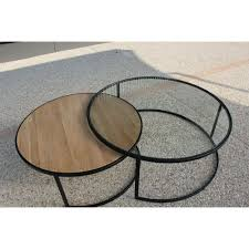 Table Basse Ronde Double Prado Industriel D X H Plateau En Chene Et