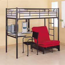 black iron bunk bed with red couch and white desk also black iron ...