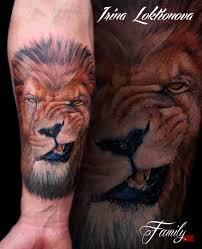 портрет льва на предплечье фото татуировок