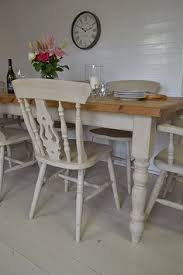 this large farmhouse dining set has a substantial table which can easily seat up to 8