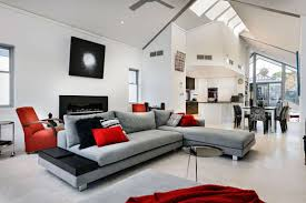 Grey L Shaped Sectional Sofa With White Interior Color For Modern