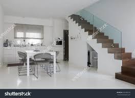 Epoxy Kitchen Floor White Kitchen Dining Room White Epoxy Stock Photo 262409183