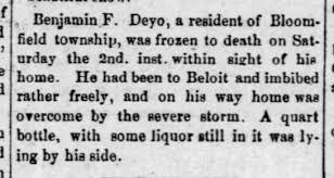 jan 1886 - benjamin deyo froze to death - Newspapers.com