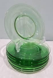 vintage depression green uranium glass 8 piece luncheon dessert plates 7 3 8