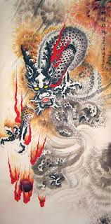 chinese dragon paintings dragon fire