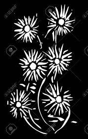 黒い背景にシンプルな木版画の花