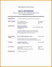 A High School Resume 006 Template Ideas Free High School Resume Student Cv