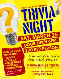 trivia night flyer templates trivia night flyer template postermywall