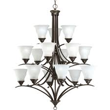 progress lighting trinity 15 light antique bronze chandelier with etched glass shade