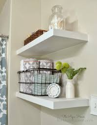 saving spaces small bathroom design using simple diy white wood floating wall shelving units in the corner ideas