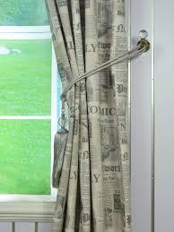 eos newspaper printed faux linen custom made curtains tassel tieback