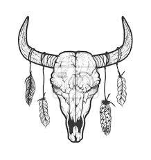 Fototapeta Býk Lebka S Peřím Native Američany Kmenové Stylu Tetování Blackwork