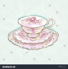 vintage tea cups drawing. Fine Cups Vintage Tea Set Service Vector Illustration Teapot And Cups Drawing Cosy  Table Set On Tea Cups Drawing P