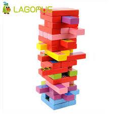 Wooden Bricks Game Lagopus Classic Bricks Blocks Game Stacked Layers Hard Wood 24