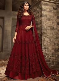 Full Length Suit Design Red Heavy Net Designer Floor Length Anarkali Suit