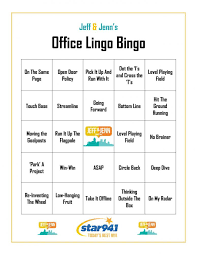 Office Bingo Office Lingo Bingo Star 94 1