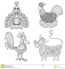 Cow Chicken In Nest Rooster Turkey For Adult Coloring Page Z