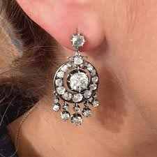 victorian 6 carat diamond silver white gold chandelier earrings in excellent condition for in new