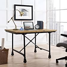 Industrial office desk Rustic Details About Industrial Modern Farmhouse Pine Wood And Steel Home Office Desk On Casters Ebay Industrial Modern Farmhouse Pine Wood And Steel Home Office Desk On