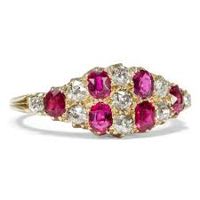 details about victorian around 1895 antique ruby diamond ring in 750 gold enement ring