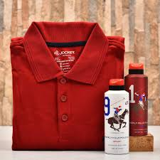 red jockey t shirt with beverly hills polo club deodorant set for men