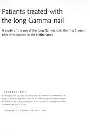 Patients Treated With The Long Gamma Nail A Study Of The Use Of