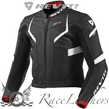 details about rev it gtr black white red summer top grain leather motorcycle motorbike jacket
