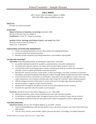 School Counselor Resume Examples Free Resume Templates