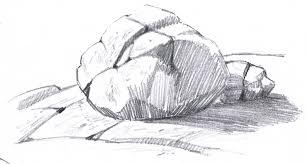 how to draw rocks boulder pencil