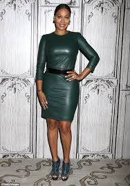 gorgeous in green la la anthony wowed in a skintight green leather dress as she