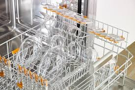 wine glasses sitting in the top rack of the miele dishwasher