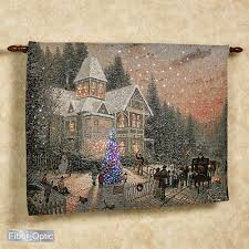 victorian christmas lighted wall tapestry blue 36 x 26 on christmas wall art tapestry with thomas kinkade lighted victorian christmas wall tapestry