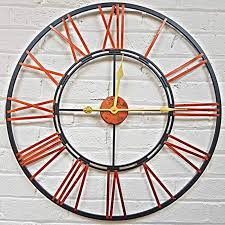home large skeleton metal wall clock roman numeral half with code