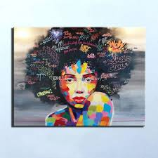 2018 pure handpainted modern abstract graffiti art oil painting african women portrait home decor on high quality canvas size can be customized from