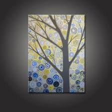 yellow blue and grey wall art
