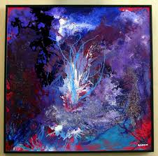 acrylic painting on plexiglas entitled july fourth 16 x 16 framed