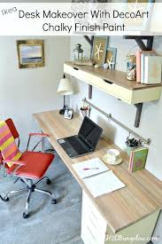 ikea wood desk desk makeover with faux wood grain top using chalky finish paint ikea wooden