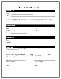 Bill Of Sales Generic Fascinating Bill Of Sale Used Car The Best Used Car Bill Of Sale Template