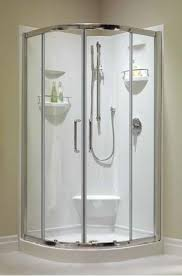 36 x 36 corner shower kit. baden shower door option; 36 x neo round corner with footrest kit
