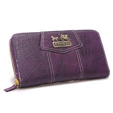Coach Accordion Zip In Croc Embossed Large Purple Wallets 22771