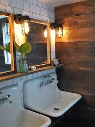 vintage bathroom lighting. Great Sinks, Plus I Love The Combo Of Sleek White + Rustic Wood Vintage Bathroom Lighting