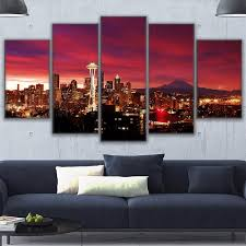 home decor canvas prints painting modular wall art tower poster 5 pieces overhead night sky seattle