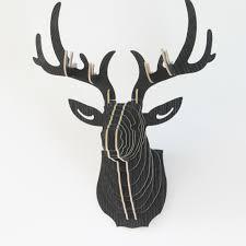 <b>Creative Wooden Wall Hanging</b> Figurines 3D Deer Head Elk Wood ...