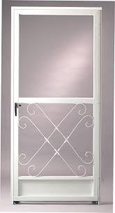 metal screen door. white elegant screen door with transparent glass panel on top and crfated metal bottom c