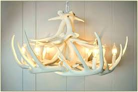 faux antler chandelier small deer white home design ideas cha