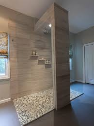 Bathroom Design, Cool Open Shower With Pebble Floor Design Ideas And Brick  Wall: Amazing Way to Design your Bathroom like Open Shower Bathroom Design