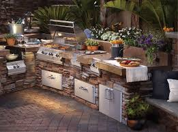 terrific outdoor kitchen ideas with granite countertop and natural stone cabinet