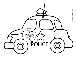 Police Car Transportation Coloring Pages For Kids Printable Free