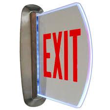 Edge Lit Exit Light End Mount Wall Recessed Edge Lit Exit Sign
